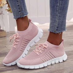 Women Running Shoes Sneakers Lace Up Sneakers Women Sock Shoes Breathable Mesh Sneakers Mode, Black Sneakers, Casual Sneakers, Sneakers Fashion, Casual Shoes, Fashion Shoes, Shoes Sneakers, Winter Shoes, Summer Shoes