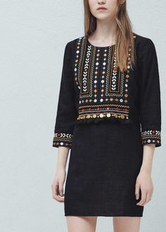 Bead embroidery dress - Women Bead embroidery dress - Dresses for Woman Kurti Embroidery Design, Hand Embroidery Dress, Embroidery On Clothes, Embroidered Clothes, Pakistani Fashion Casual, Pakistani Dress Design, Designer Kurtis, Balochi Dress, Boho Dress