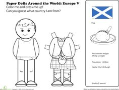 Paper dolls coloring pages are a great way for kids to use their imaginations. Browse our selection of paper dolls printables and find your favorites. Coloring For Kids, Coloring Pages, Coloring Worksheets, Colouring, Social Studies Worksheets, World Thinking Day, My Father's World, Highland Games, Early Childhood