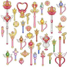 sailor moon transformation pens, brooches and wands