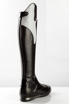 "De Niro boots, ""Ramses 3"" grey and shiny black. These would look great with Pikeur charcoal grey breeches."