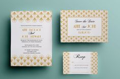 Art deco wedding suite Templates Elegant art deco inspired wedding invitation,rsvp and save the date card in 2 color versionsWhat's by annago Art Deco Wedding Invitations, Printable Wedding Invitations, Invites, Invitation Cards, Save The Date Templates, Wedding Templates, Wedding Art, Wedding Suits, Save The Date Cards