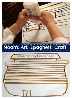 My son had a great time creating this Noah's Ark spaghetti craft at church. I would say it is a great Noah's ark craft for preschool kids and older. Sunday School Activities, Sunday School Lessons, Sunday School Crafts, Preschool Bible, Bible Activities, Church Activities, Preschool Kindergarten, Toddler Activities, Learning Activities
