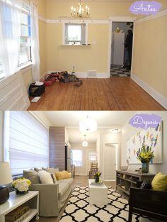Antes e Depois: sala e cozinha agora integrados