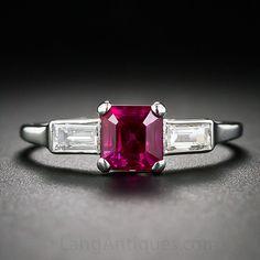 Art Deco 1.39 Carat Gemmy 'No Heat - Burma' Ruby, Platinum and Diamond Ring. (Engraved w/ date 1938)