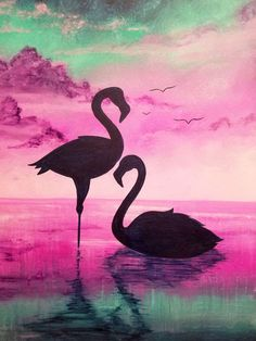 Pink Flamingo Painting – Modern Acrylic Painting on Canvas by Osnat – Watercolor Art, Nature Art Painting, Silhouette Painting, Nature Art, Amazing Art Painting, Silhouette Art, Flamingo Painting, Painting Art Projects, Canvas Art Painting