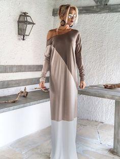 Dunklen Taupe  Beige  Elfenbein-Maxi-Kleid Abaya / Taupe
