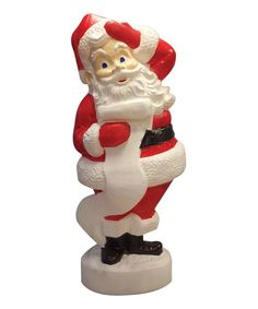Ho, ho, ho! No holiday display would be complete without the man in the red suit. With cord and lightbulb included, this glowing Santa figurine instantly adds festive flair to any holiday display.18'' W x 43'' H x 15.5'' Cord and lightbulb included, Made in the USA