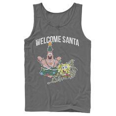 Men's Nickelodeon Spongebob Squarepants Patrick Star Welcome Santa Christmas Graphic Tank Top, Size: Large, Grey