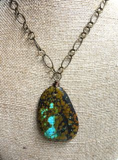 Teardrop Turquoise Necklace by SandyShumanJewelry on Etsy