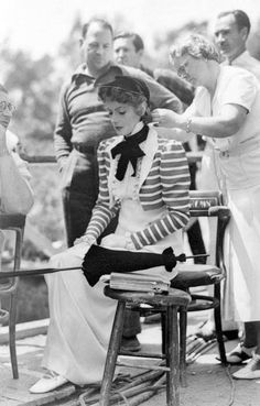 """Greta Garbo on the set of """"Conquest"""", 1937."""