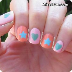 ♥ Tutorial ♥ Easy Star & Heart Nail Art (Using Hand Punches)