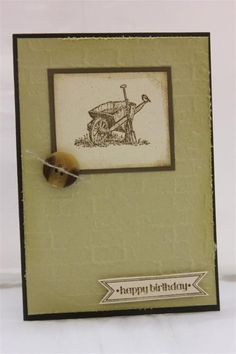 stampin up countryside stamp set with sizzix bricked wall embossing folder