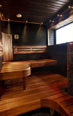 Bastu inredning Sauna Steam Room, Sauna Room, Sauna Design, Küchen Design, Dream Home Design, House Design, Building A Sauna, Spa Sauna, Hot Tub Room