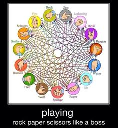 Rock-Paper-Scissors-Lizard-Spock is for chumps. Rock-Paper-Scissors-Gun-Lightning-Devil-Dragon-Water-Air-Sponge-Wolf-Tree-Human-Snake-Fire is where it's at. Whitney Houston, Spock, Memes Humor, Humor Humour, Funny Humor, Rock Paper Scissors, Funny Animal Pictures, Hilarious Pictures, Funny Texts