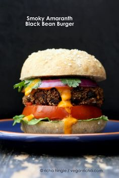 Smoky Amaranth Black Bean Burgers with Roasted Red Pepper sauce. Vegan Recipe | Vegan Richa