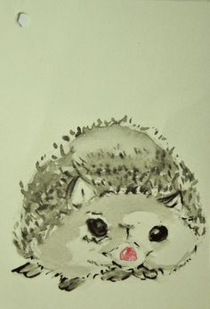 Little hedgehog Watercolor on paper