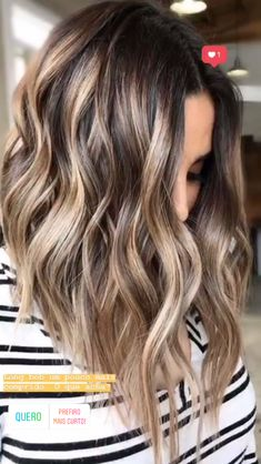 67 Brown Hair Colors Ideas For Winter 2019 – Balayage Haare Hair Highlights And Lowlights, Brown Hair Balayage, Brown Blonde Hair, Blonde Wig, Light Brown Hair, Hair Color Balayage, Ombre Hair, Black Hair, Balayage Hair Brunette Medium