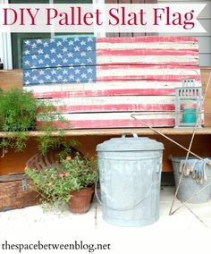 Make a rustic, aged looking DIY pallet slat flag with a little paint and simple distressing technique.  Perfect for Labor Day, 4th of July or all year round!