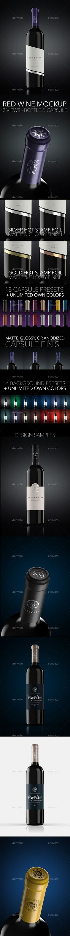 Red Wine Bottle Mock Up by vespertine_pl Vespertine mockup is designed to make your life easier, improve workflow, and rise your projects presentations to the higher level
