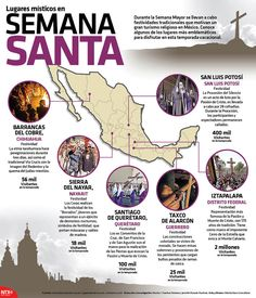 Durante la Semana Mayor se llevan a cabo festividades tradicionales que motivan un gran turismo religioso en México. Conoce algunos de los lugares más emblemáticos para disfrutar en esta temporada vacacional.   #Infographic