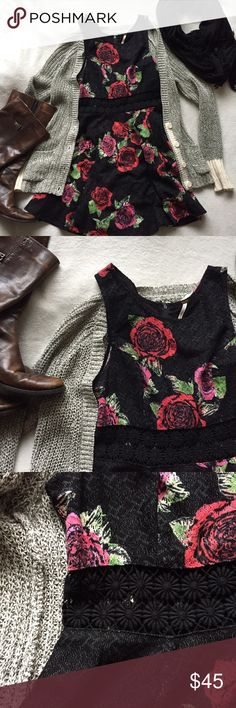 Free People Roses Skater Dress This cute little dress will work for any season! Pair with tights, boots, and a cardigan for fall or strappy sandals in summer 😊 rose pattern with lace/cutout floral detail at the waist. Zipper closure at the back. Excellent condition, no flaws 👍🏻 get this closet staple while it lasts! ⭐️open to offers⭐️ Free People Dresses Mini