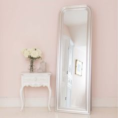 Buy the beautifully designed Sterling Silver Free Standing Mirror, by The French Bedroom Company. Silver Decor, Shabby Chic Bedside Table, Shabby Chic Mirror, Standing Mirror, Full Length Mirror, French Bedroom, French Style Furniture, French Style Mirrors, Mirror