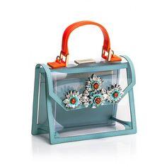 Shourouk (1.895 RON) ❤ liked on Polyvore featuring bags, handbags, blue purse, pvc bag, blue handbags, pvc purse and shourouk