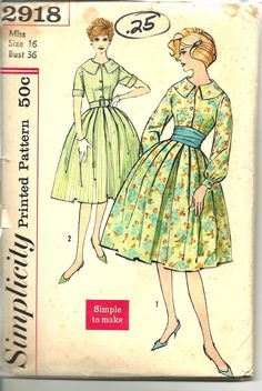 Vintage Simplicity 2918 Dress Sewing by LulaVintageMN 1 Piece Dress, Pattern Pictures, Simplicity Patterns, Party Fashion, Vintage Sewing Patterns, New Outfits, Dress Sewing, Vintage Fashion, Vintage Pictures