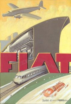 Everyone knows FIAT (Italian Automobil Factory in Turin) brand, an italian automobile manufactorer based in Turin and founded in 1899 by Gi. Vintage Italian Posters, Vintage Travel Posters, Vintage Advertisements, Vintage Ads, Vintage Graphic, Fiat 500 Pop, Vintage Oddities, Retro Poster, Poster Vintage
