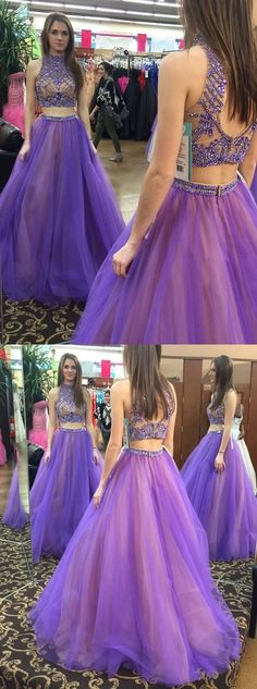 prom dresses,Sexy Prom Dress,Two Piece High Neck Floor-Length Open Back Prom Dress with Beading