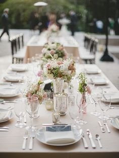 Delicate Blush Pink Wedding Table Decor - See more of the wedding on #SMP here: http://www.StyleMePretty.com/2014/05/19/elegant-outdoor-charleston-wedding-at-the-legare-waring-house/ Photography: BrandonLata.com