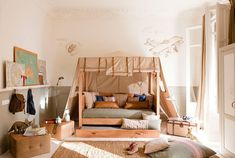 Extraordinary Kid's Room Design In Calm Shades : Inspiring White And Brown Kids Room With Bedroom Carpet Shoes Curtain Big Window Bag Blue Pillows And Wall Decor In Calm Shades Creative Kids Rooms, Cool Kids Bedrooms, Kids Room Design, Deco Design, Bag Design, Design Trends, Design Ideas, Bedroom Carpet, Bedroom Themes