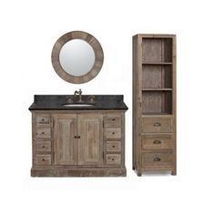Marble Top Single Sink Rustic Style Bathroom Vanity With Matching Wall Mirror And Linen Tower Ping Great Deals On Vanities