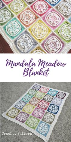 A beautiful array of mandalas in different colors! Crochet PDF pattern. #affiliatelink #crochetpattern #mandalablanket #etsy
