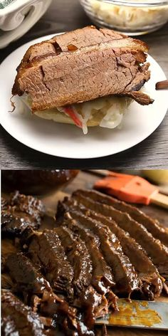 Slow Cooker Barbecue Beef Brisket - A Family Feast® Beef Brisket Recipes Crockpot, Beef Brisket Slow Cooker, Bbq Brisket, Pork Recipes, Bbq Ribs, Brisket Sandwich Recipe, Bbq Beef Sandwiches, Beef Dishes, Rind