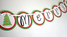 Merry Christmas Banner by ElleJayPartyDecor on Etsy, $20.00