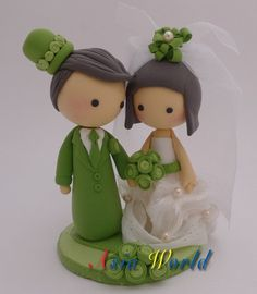 Vintage Green Wedding Cake topper, Wedding clay doll, Wedding decoration, engagement party