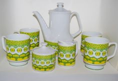 Vintage Danish Mid Century Modern ceramic Coffee Set 1960s. Hey! This is like the coffee pot dad bought me recently... a clue to its provenance, perhaps?