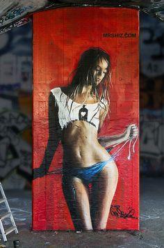 Olivier Roubieu in Southbank, London, 2016 Beautiful Women Videos, Very Beautiful Woman, Living In La, International Artist, Street Art Graffiti, French Artists, Street Artists, Screen Printing, Art Gallery