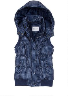 Polka Dot Hooded Puffer Vest - View All Jackets