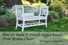 bench from broken chairs - cool      As promised, here is a tutorial on how to make a bench from two old, broken dining chairs in a classic French/European style. We finally finished it enough to photograph for you after I saw folks pinning the unfinished version I posted a whil