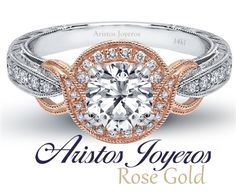 Anillo en oro rosado y blanco con diamantes, diseño especial de compromiso .. #Elegancia #Diamantes #Estilo #Diseño