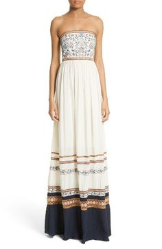 Free shipping and returns on Alice + Olivia Quyen Embroidered Maxi Dress at Nordstrom.com. Pre-order this style today! Add to Shopping Bag to view approximate ship date. You'll be charged only when your item ships.Embroidered flora and fauna dot the fitted bodice of a romantic woven maxi dress banded with ornate ribbons and a wide contrast hem that will elevate your sunset strolls.