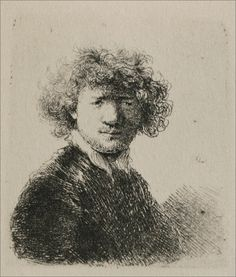 Rembrandt with Bushy Hair and a Small White Collar. 1630. Etching. 38 x 50 mm. Rembrandt van Rijn