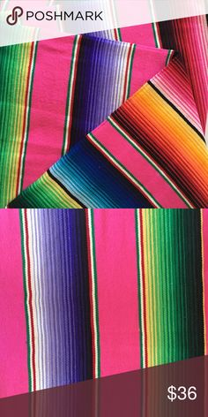 Mexican Serape Blanket Gorgeous, bright Mexican Serape Blanket. Perfect for beach, camping, bed coverlet, sofa or chair throw. Soft and cozy! Accessories Scarves & Wraps