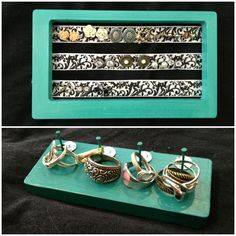 DIY earring and ring holders. Paint, wood, ribbon, and nails. Simple :)
