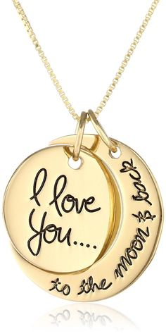 "Sterling Silver ""I Love You To The Moon and Back"" Two Piece Pendant Necklace, 18"" yellow gold"