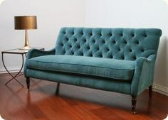 Tips That Help You Get The Best Leather Sofa Deal. Leather sofas and leather couch sets are available in a diversity of colors and styles. A leather couch is the ideal way to improve a space's design and th Blue Tufted Sofa, Teal Velvet Sofa, Blue Couches, Teal Sofa, Tufted Ottoman, Wingback Chair, Upholstered Furniture, Home Furniture, Velvet Furniture