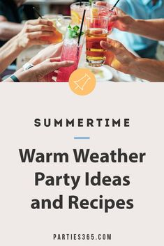 Ready to throw a fabulous party this summer but need ideas for your celebration? Check out these festive parties for summer party themes, decorations, recipes, food and more! Summer Party Themes, Adult Party Themes, Summer Parties, Party Ideas, Party Drinks, Cocktails, Kids Party Tables, Party Names, Food Ideas